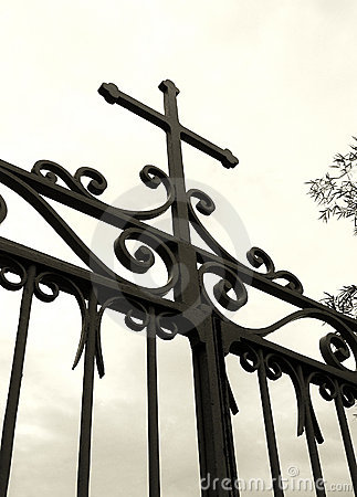 Free Cross On Church Gate, Silhouette Stock Photography - 4884452