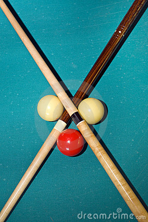 Cross with pool sticks
