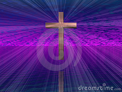 Cross in purple sky