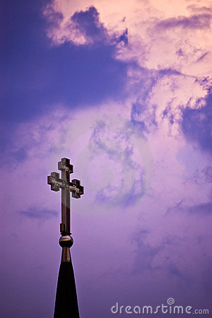 Cross on purple sky