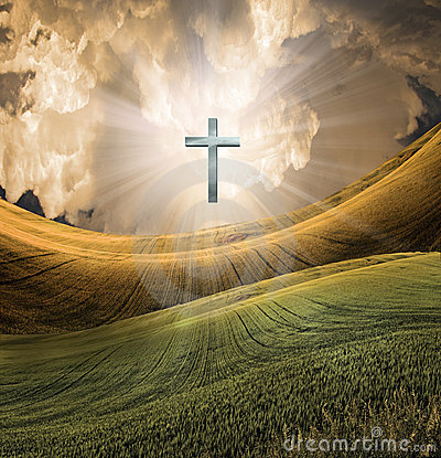 Free Cross Radiates Light In Sky Royalty Free Stock Image - 17500206