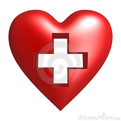 Cross on red heart