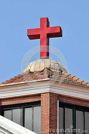 Cross and roof of a Christian church