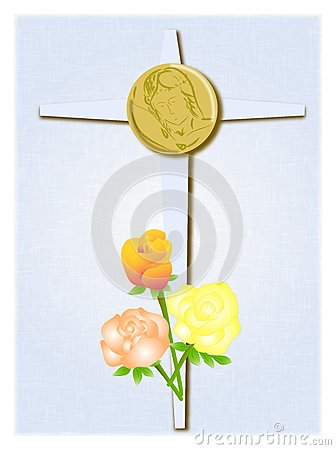 Cross with roses and christ