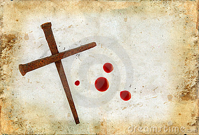 Cross of Rusty Nails and Blood Drops on Grunge