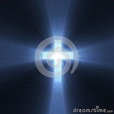 Free Cross Sign Holy Blue Light Flare Stock Photo - 2901450