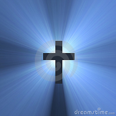 Cross sign holy blue light flare