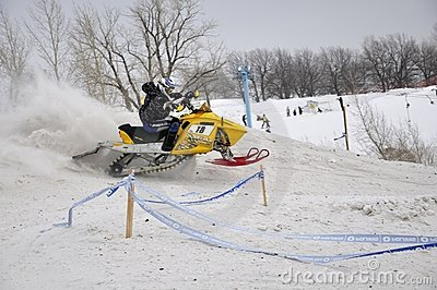 Cross snowmobile rider quickly Editorial Stock Photo