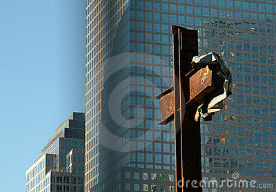Cross standing at the site of the twin Towers NYC