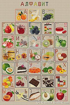 Free Cross-stitch Alphabet Cyrillic Tasty, Fruit Stock Image - 51440961