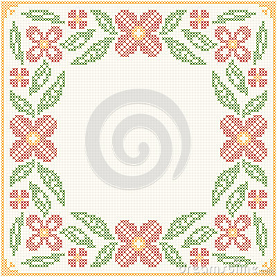 Free Cross-stitch Embroidery - Flowers And Leaves Royalty Free Stock Photos - 73332638