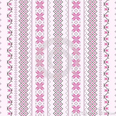 Cross-stitch pattern in pink