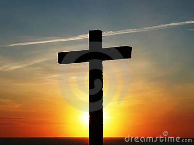 cross at sunset red sky