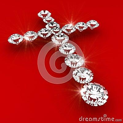 Cross symbol shape diamond art illustration