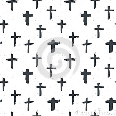Free Cross Symbols Seamless Pattern Grunge Hand Drawn Christian Crosses, Religious Signs Icons, Crucifix Symbol Vector Illustration Royalty Free Stock Photos - 100452308