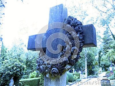 Cross on tombstone