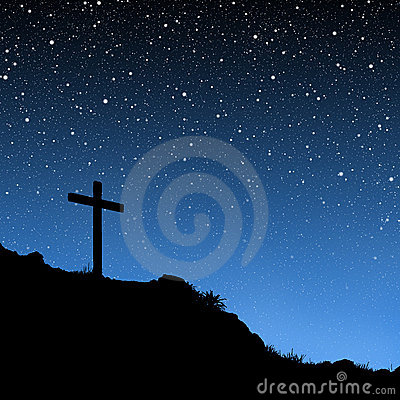 Free Cross Under Stars Royalty Free Stock Photography - 3641187