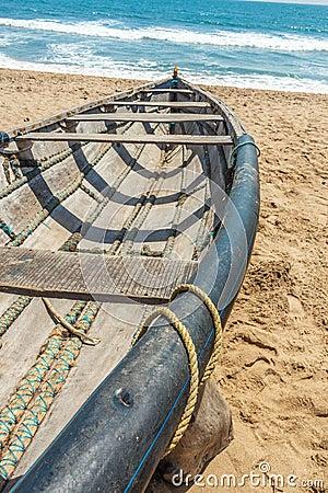Free Cross View Of Skeleton Of A Fishing Boat Parked Alone In Seashore, Kailashgiri, Visakhapatnam, Andhra Pradesh, March 05 2017 Royalty Free Stock Photo - 88543025