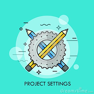 Free Crossed Blue And Yellow Pencils And Gear Wheel. Stock Photos - 109800103