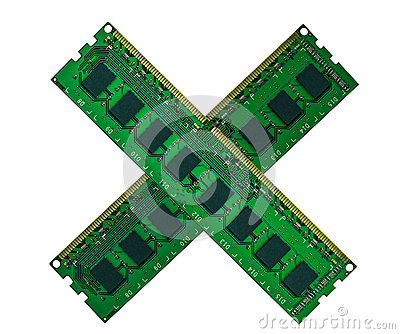 Crossed computer memory board isolated on white
