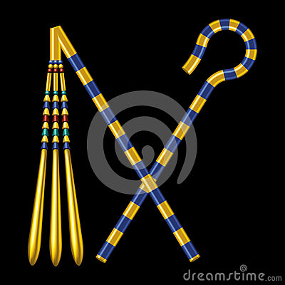 Free Crossed Crook And Flail Of Ancient Egypt Pharaohs Stock Image - 53391251