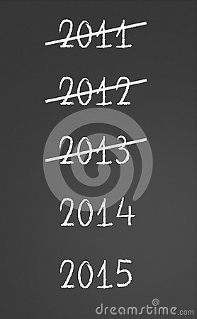 2011, 2012, 2013 crossed and new years 2014, 2015