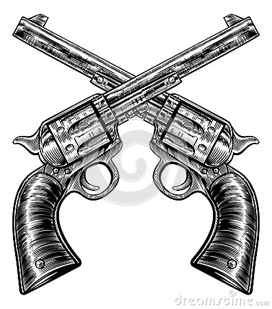 Free Crossed Pistol Gun Revolvers Vintage Woodcut Style Royalty Free Stock Photo - 88184145