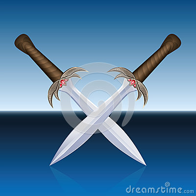 Free Crossed Swords Pirates Blue Sea Royalty Free Stock Image - 54273616