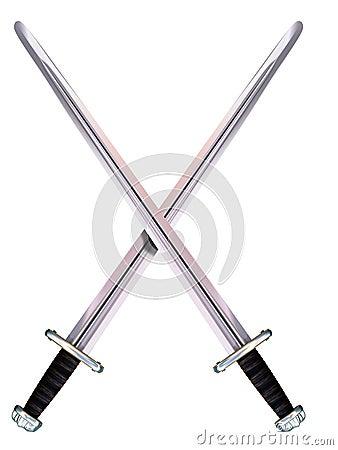 Crossed Viking Long Swords