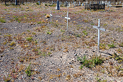 Crosses in desert cemetery