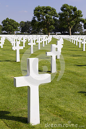 Crosses on graves at Margraten War Cemetery Editorial Photography