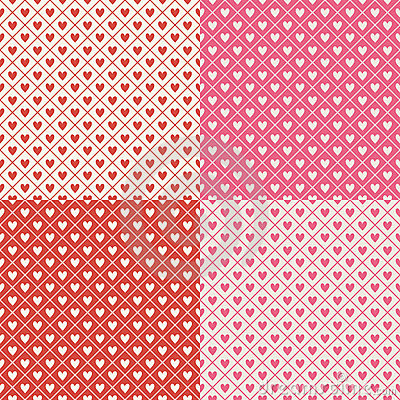 Crosshatch Hearts Seamless Background Pattern