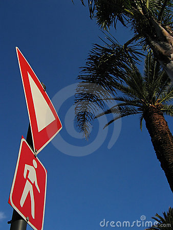 Crossing sign and palm trees