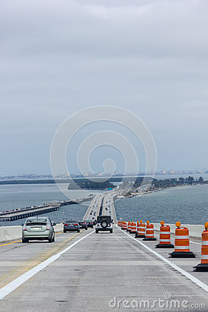 Crossing the Skyway Bridge Editorial Stock Photo