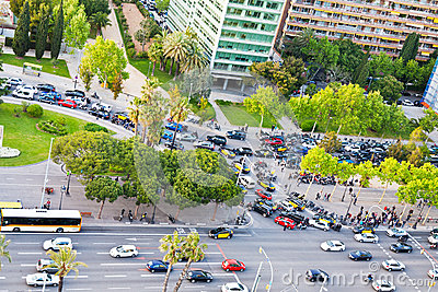 Crossroad on avenue Diagonal in Barcelona