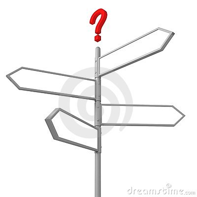 Crossroad question road sign with blank directions