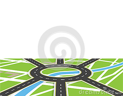 Crossroads of roads with markings. Roundabout Circulation. View in perspective with shadow. Local map. illustration Vector Illustration