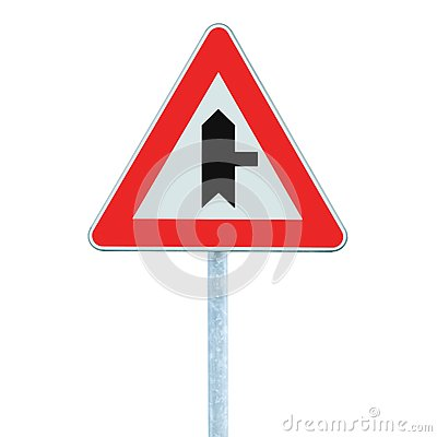 Free Crossroads Warning Main Road Sign, Pole Post, Right, Isolated Closeup Royalty Free Stock Photo - 111799825
