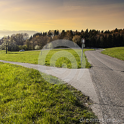 Free Crossroads With A Traffic Sign Stock Images - 97646134