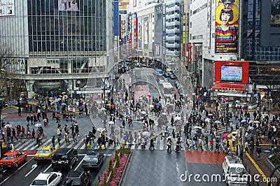 Crosswalk in Shibuya, Tokyo Editorial Stock Image