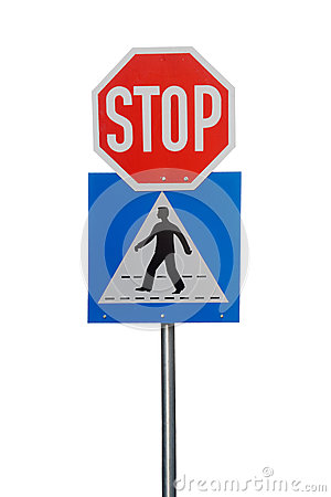 Crosswalk and stop road sign