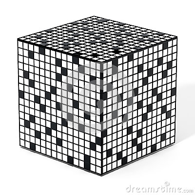 Free Crossword Puzzle Cube Isolated On White Background. 3D Illustration Stock Photo - 93526000