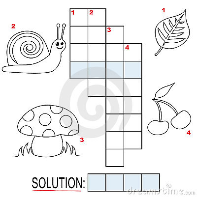 Free Crossword Puzzle For Kids, Part 1 Stock Photography - 17250952