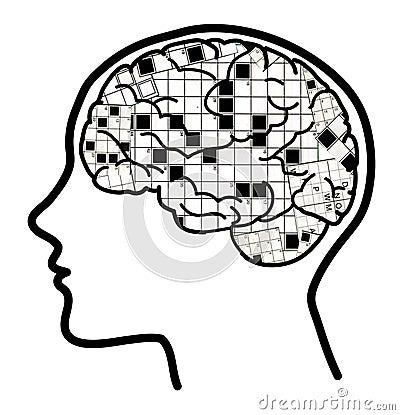 Crossword in brain collage