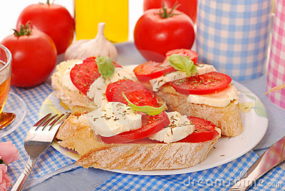 Crostini with caprese for breakfast