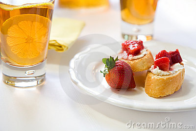 Crostini With Strawberry Rhubarb Compote Royalty Free Stock Photo - Image: 14256305