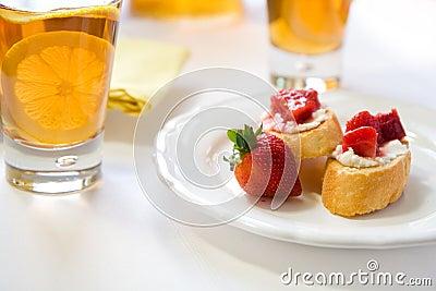 Crostini with Strawberry Rhubarb compote