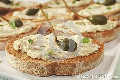 Crostini with Tuna Cheese and Capers Bruschetta