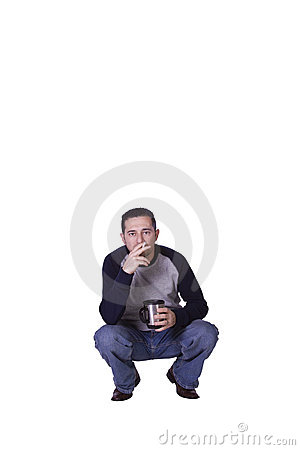 Crouched Man Smoking and Drinking Coffee