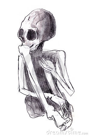 Crouched skeleton
